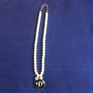 Jewelry - Pearl (faux) necklace with initial D